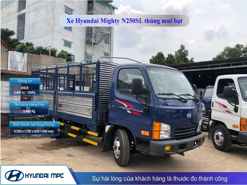 Giá xe tải Hyundai Mighty N250SL thùng mui bạt 2.5t thùng 4.3m