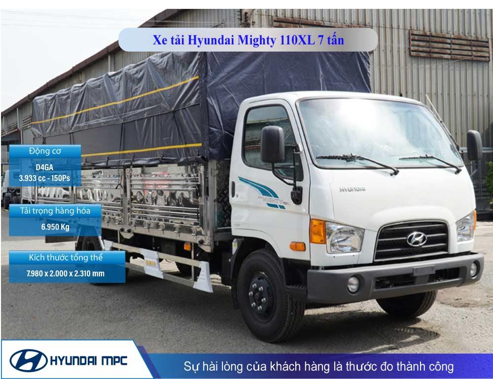 Xe tải Hyundai Mighty 110XL thùng dài 6.3 mét